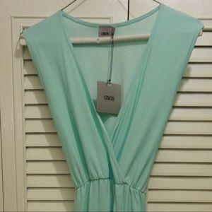 ASOS aqua blue maxi dress with high leg slit